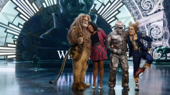David Alan Grier as the Cowardly Lion, Shanice Williams as Dorothy, Ne-Yo as the Tin Man and Elijah Kelly as the Scarecrow. Photo courtesy of NBC.