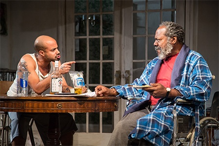 Sean Carvajal and Frankie R. Faison in Between Riverside and Crazy at Studio Theatre. Photo by Igor Dmitry.