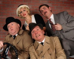 Tatiana Dalton, Charlie Lidard, Patrick Martyn and Toby Hessenauer in 'The 39 Steps' at DCT. Photo by Tom Lauer.