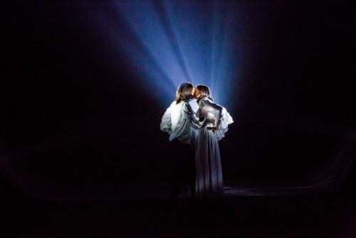 Photo by Johnny Shryock. Irina Kavsadze as Juliet, Zana Gankhuyag as Romeo.