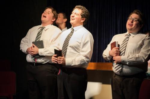 From left: Michael MacKay, Dennis Binseel, Dan Romeo and Tommy Malek Photo: Spotlighters Theatre/Chris Aldridge, CMAldridgePhotography