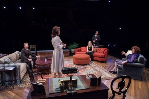 (L-R) Tom Wiggin as Chandler Harris, Margaret Colin as Hester Ferris, Caroline Hewitt as Anna Fitzgerald, Todd Scofield as George Mallonee and Jjana Valentiner as Carolyn Mallonee in The City of Conversation at Arena Stage at the Mead Center for American Theater January 29-March 6, 2016. Photo by C. Stanley Photography.