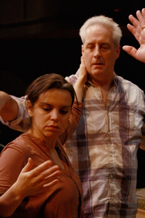 Nora Achrati and Michael Russotto in rehearsal for Theater J's production of Falling Out of Time. Photo courtesy of Theater J.