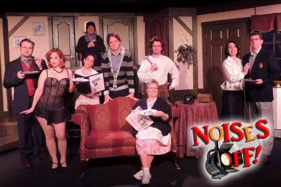 The cast of 'Noises Off!' at Way Off Broadway Dinner Theatre. Photo by Justin Kiska.