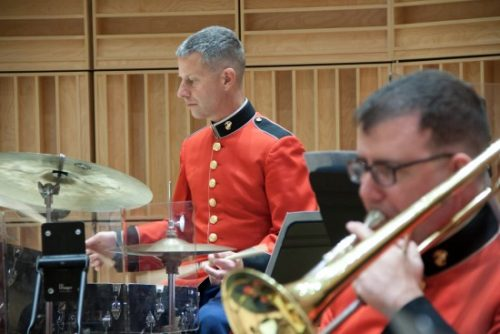 "Master Sergeant David Murray behind his drum set in concert with ""The President's Own"" United Staates Marine Band. Photo courtesy of Marine Band Public Affairs."