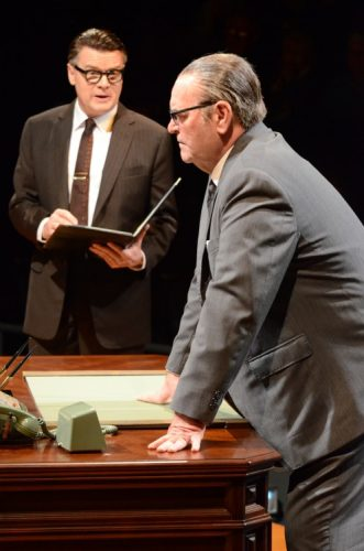 L-R John Scherer as Walter Jenkins and Jack Willis as President Lyndon Baines Johnson. Photo by Stan Barouh.