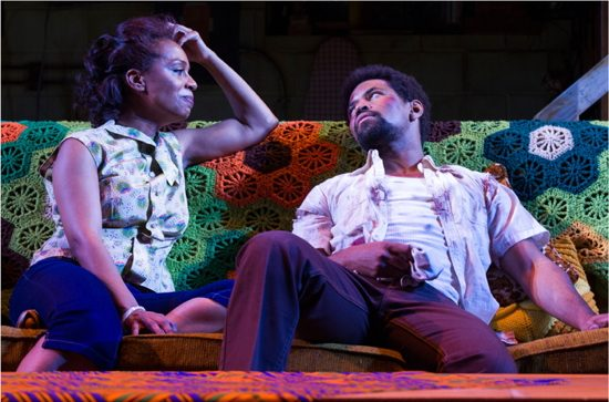 Michelle Wilson (Chelle) and Amari Cheatom (Lank) in Detroit '67 by Dominique Morisseau and directed by Kamilah Forbes. Photo Credit: Richard Anderson.