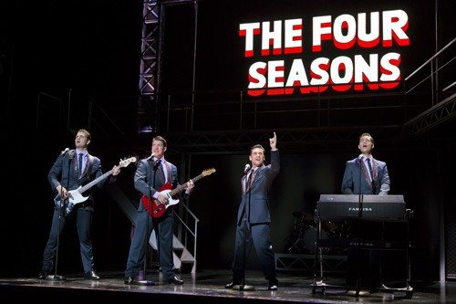 (l to r) Keith Hines, Matthew Dailey, Aaron De Jesus, and Drew Seeley in JerseyBoys at the National Theatre April 6 – 24. www.thenationaldc.comPhoto: Jeremy Daniel