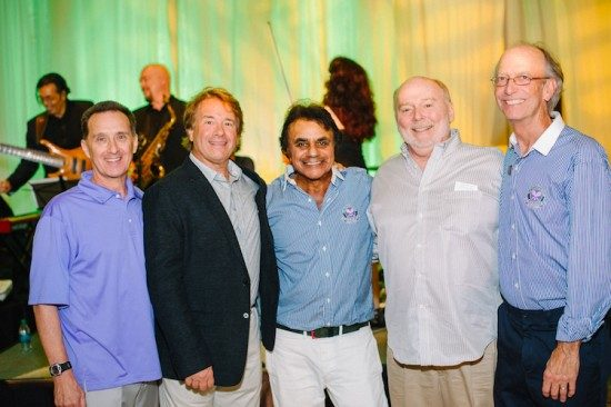 Johnny Mathis at his 80th birthday party with his whole rhythm section. L-R Joe Lizama (Percussion), Rick Shaw (Bass), Johnny Mathis, Gil Reigers (Guitar), and John Scott Lavender (Conductor/Piano) Photo credit Krista Mason.