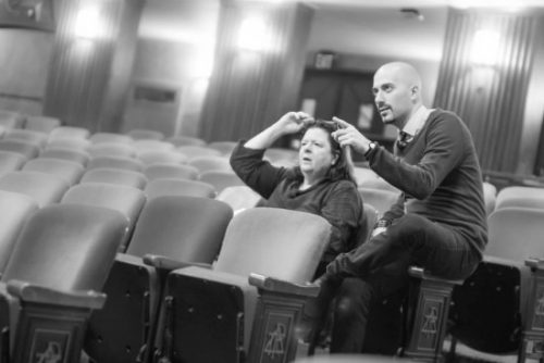 Playwright Teresa Rebeck and Director Adam Immerwahr in rehearsal for The Understudy atMcCarter Theatre Center. Photo by Matt Pilsner.