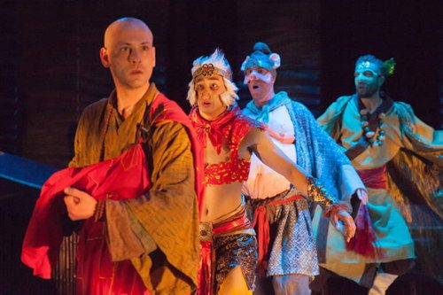 (l-r) Ashley Ivey, Dallas Tolentino, Ryan Tumulty, Michael Kevin Darnall in Journey to the West, Constellation Theatre. Photo by DJ Corey.