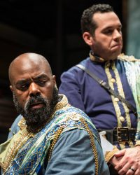 Othello (Jason B. McIntosh) fears his wife is cheating with him because his trusted ensign Iago (Jose Guzman) has planted rumors and lies. Photo by Teresa Castracane.