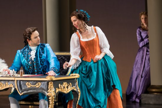 Joshua Hopkins as Count Almaviva (left), Lisette Oropesa as Susanna (center) and Amanda Majeski as Countess Almaviva (right). Photo by Scott Suchman.