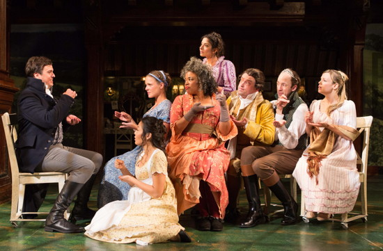 The cast of Folger Theatre's production of Sense & Sensibility enjoying some tea and a bit of gossip. Photo by Teresa Wood.