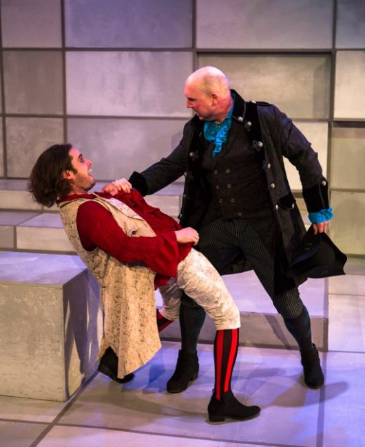 "Robert Bowen Smith as ""He"" (left) and Ian LeValley as ""I"" (right) in Spooky Action Theatre's production of ""Rameau's Nephew""."