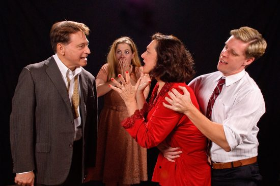 Joseph Mariano (George), Sarah Wade (Honey), Debbie Barber-Eaton (Martha), and Ron Giddings (Nick). Photo by Colburn Images.