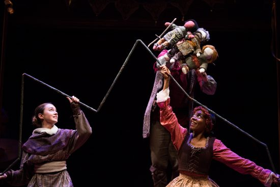 Malinda Kathleen Reese and Lilian Oben work the terrain for the three shepherds' journey in The Second Shepherds' Play. On stage at Folger Theatre, November 27 – December 21, 2016. Photo by Brittany Diliberto.