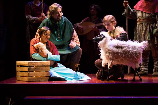 Young shepherd Daw (Megan Graves) and her sheep (designed by Aaron Cromie) greet Mary (LIlian Oben) and child, with a shepherd (Daniel Meyers) looking on in The Second Shepherds' Play. On stage at Folger Theatre, November 27 – December 21, 2016. Photo by Brittany Diliberto.