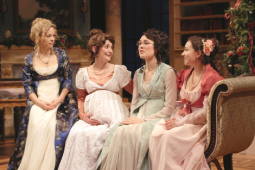 Erin Weaver (Elizabeth Darcy), Katie deBuys (Jane Bingley), Katie Kleiger (Mary Bennet), and Miranda Rizzolo (Lydia Wickham). Photo by Grace Toulotte.