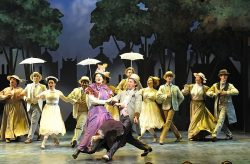 Patricia Hurley (Mary Poppins), Rhett Guter (Bert) and the cast of Olney Theatre Center's Mary Poppins. Photo: Stan Barouh