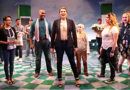 Heidi Blickenstaff (Katherine Blake) and the cast of Disney's 'Freaky Friday' at Signature Theatre. Photo by Margot Schulman.