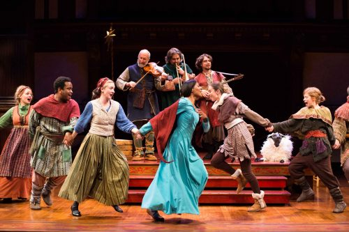 The company of the holiday production of The Second Shepherds' Play dances in merry celebration. Photo by Brittany Diliberto.