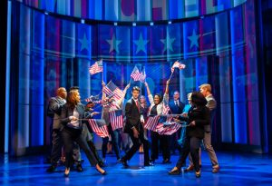 Drew Gehling (Dave Kovic/President Bill Mitchell) and the cast of Dave. Photo by Margot Schulman.