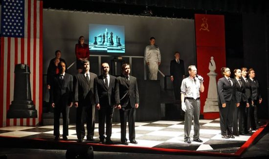 The ensemble of Chess by 2nd Star Productions at The Bowie Playhouse.