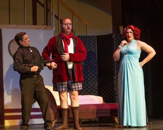 """Photo of Todd Hochkeppel, Ryan Geiger and Robyn Bloom in """"Anything Goes"""" at Silhouette Stages. Photo by Russell Woodridge."""
