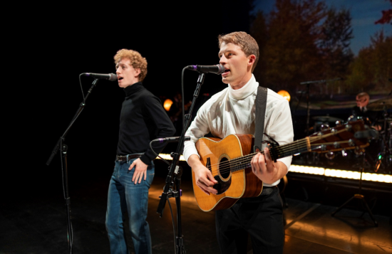 Taylor Bloom and Ben Cooley as Simon and Garfunkel in 'The Simon and Garfunkel Story' at the National Theatre. Photo by Ben Taylor.